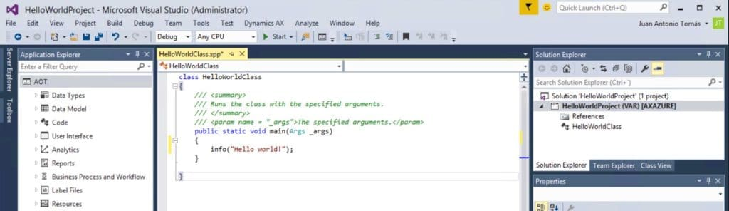 código x++ visual studio 2015 ax7