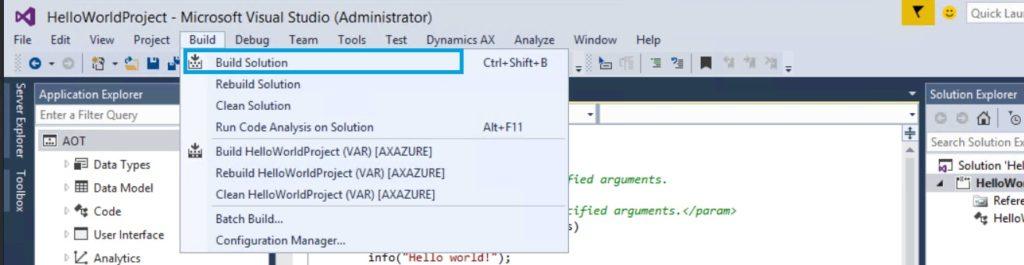 compilar solucion ax7 visual studio 2015