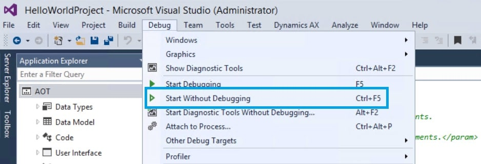 start without debugging ax7