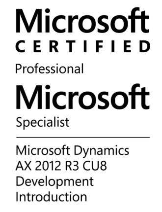 Microsoft Certified Professional - Microsoft Specialist - Microsoft Dynamics AX 2012 R3 CU8 Development Introduction