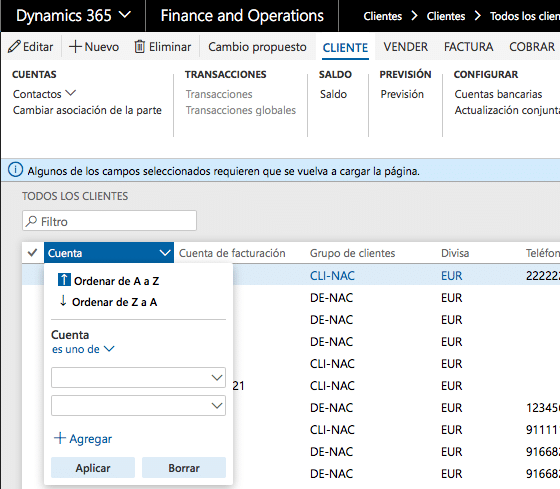 Filtro es uno de Dynamics 365 for Finance and Operations