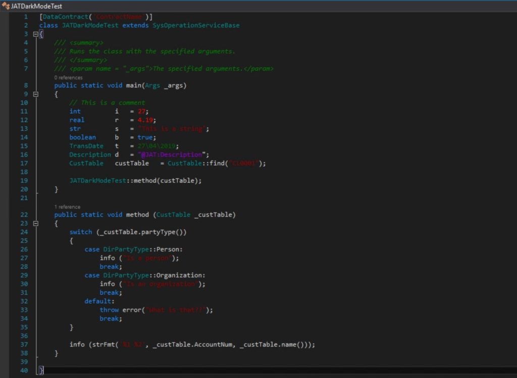 Dark Mode Visual Studio