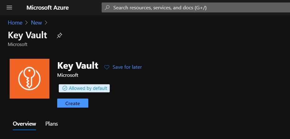Create new Key vault in azure portal