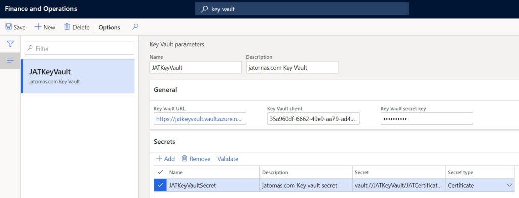 Pámetros de Key Vault en Microsoft Dynamics 365 Finance and Operations