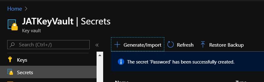 Create new secret in key vault