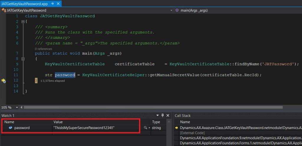 Obtener contraseña del secreto del key vault con x++