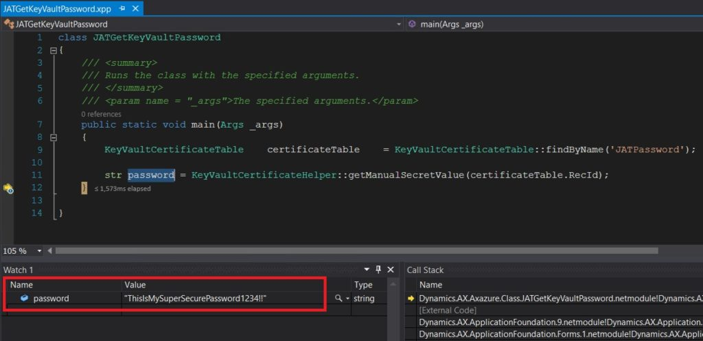 Get password from key vault secret with x++