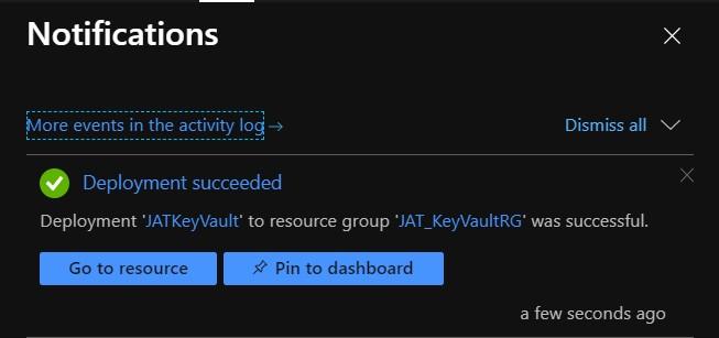 Notificación de key vault creado