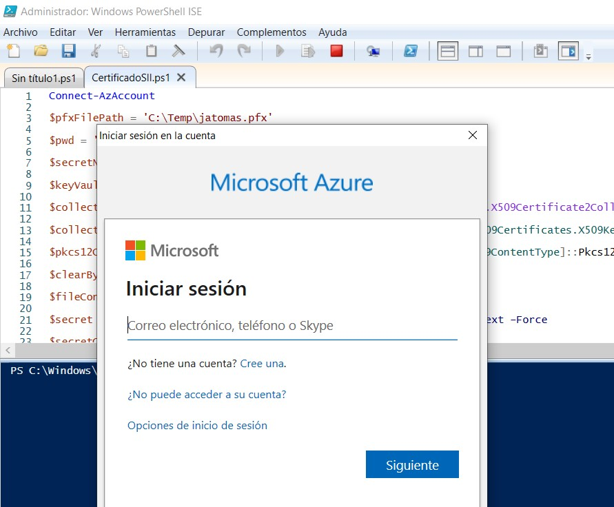 Insert azure credentials to load the certificate