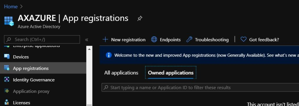 Create new azure active directory app registration