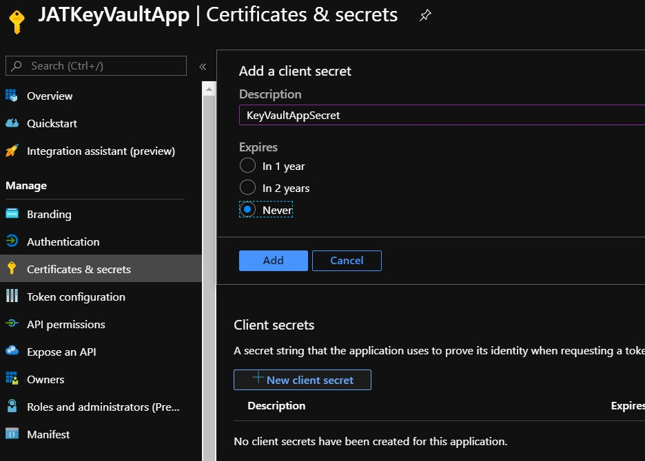 Create new secret within azure active directory app registration
