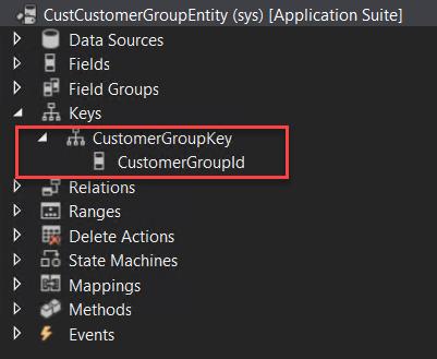 Clave primaria de la entidad de grupos de clientes desde Visual Studio