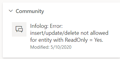 Insert/Update/Delete not allowed for entities with ReadOnly = Yes